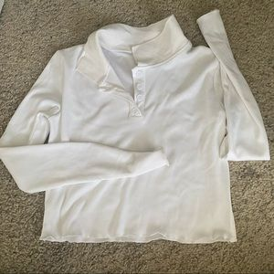 white preppy collared long sleeve top